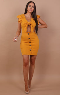 Mustard-Bow-Front-Cut-Out-Mini-Dress-Taliha