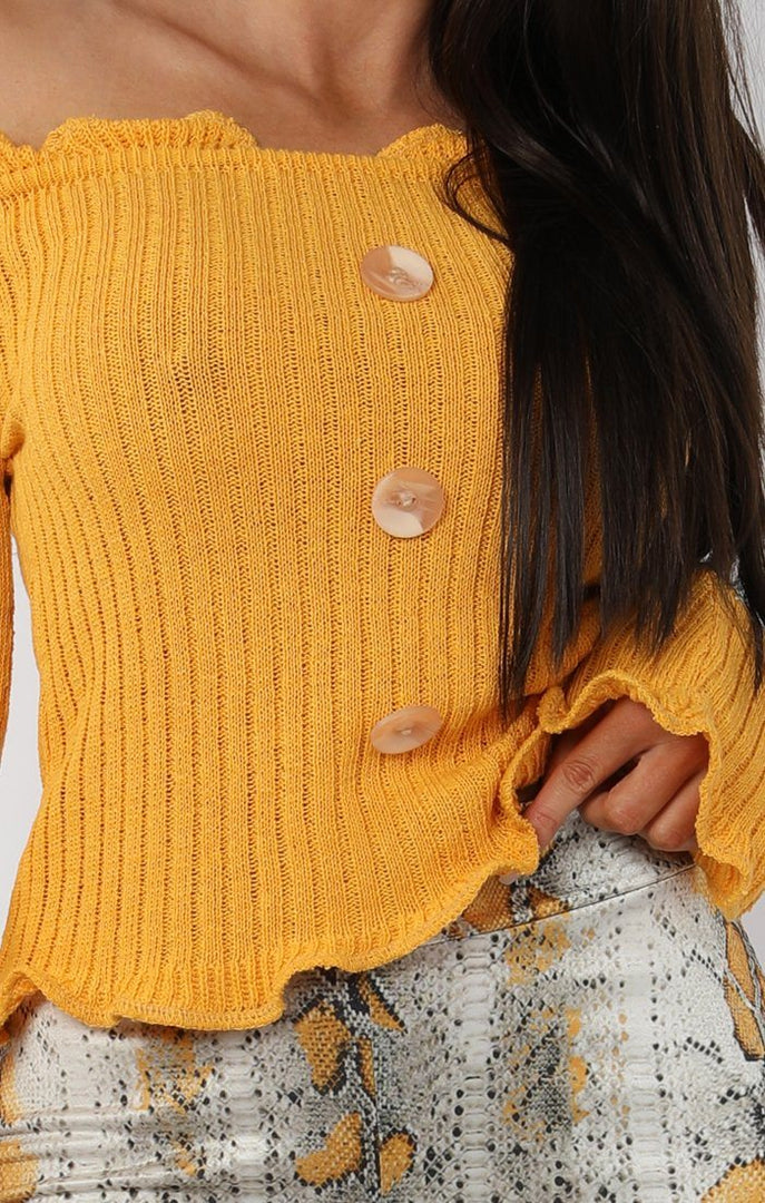 Mustard Button Front Bardot Top - Kiara