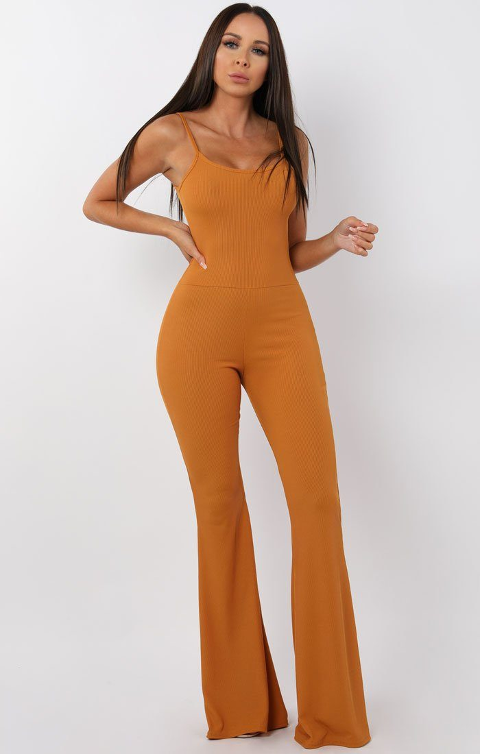 Mustard Cami Ribbed Flare Jumpsuit - Gloria jumpsuits FemmeLuxe