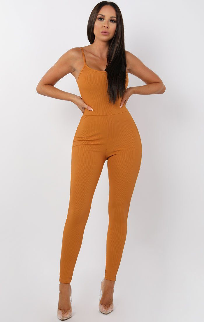 Mustard Cami Ribbed Jumpsuit - Lolly jumpsuits FemmeLuxe