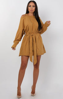 Mustard Cold Shoulder Cut Out Jersey Dress - Laura