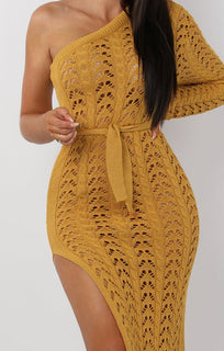 Mustard Crochet One Shoulder Midi Dress - Armelle