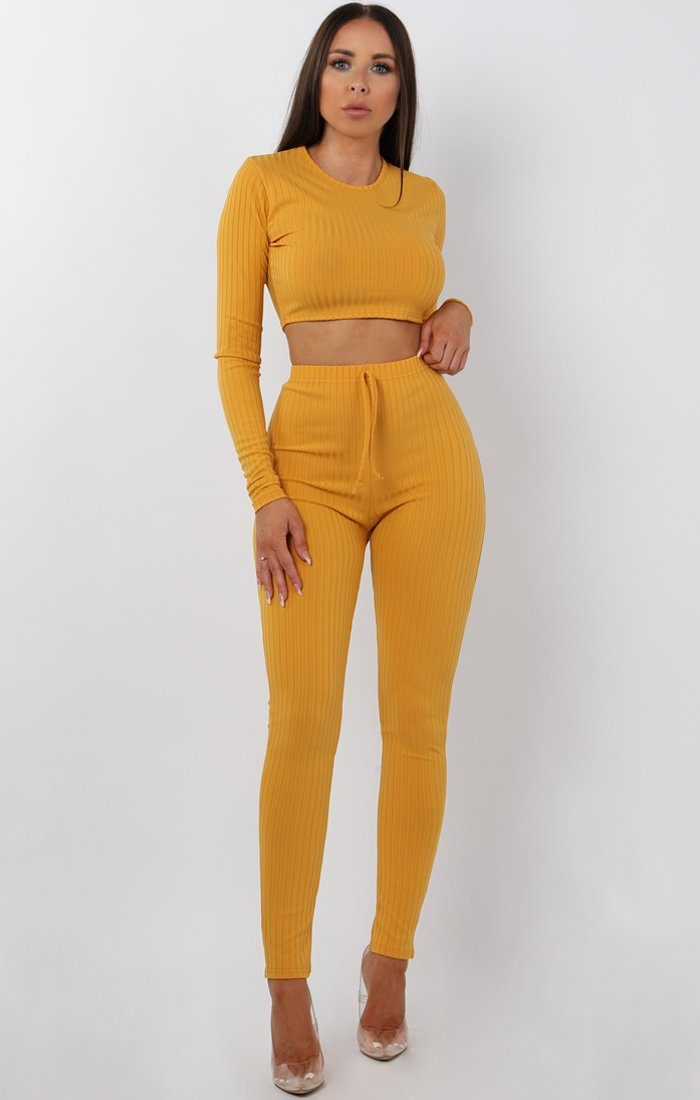 Mustard Cropped Long Sleeve Loungewear Set - Joanne