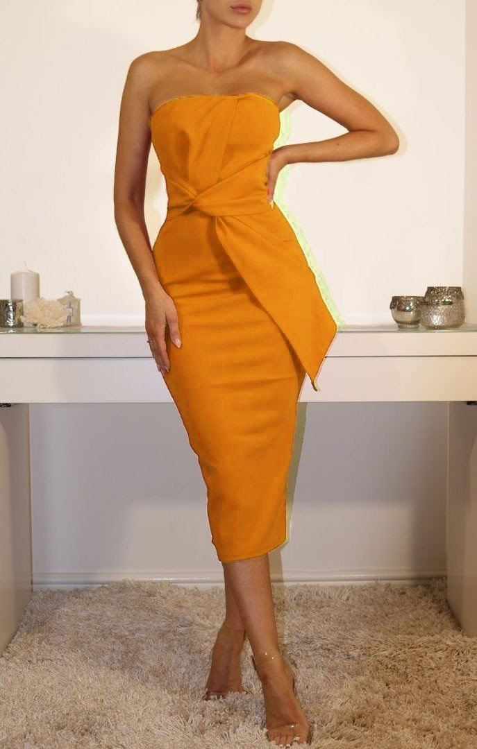 Mustard Cross Front Bandeau Midi Dress