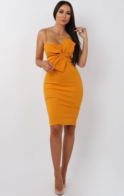 Mustard Front Twist Bodycon Midi Dress