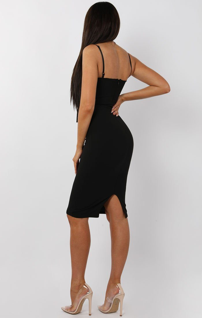 Black Front Twist Bodycon Midi Dress