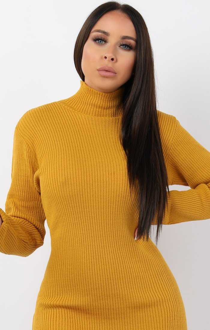 Mustard High Neck Bodycon Jumper Dress - Esmelia