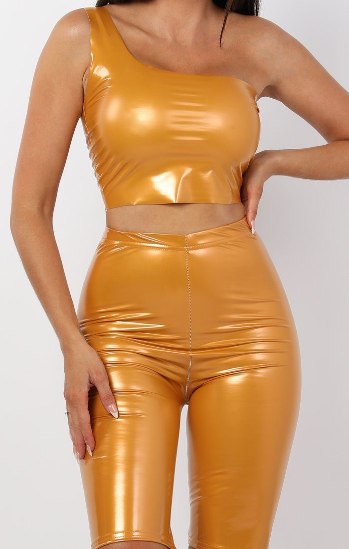 Mustard High Shine Vinyl Pu Shorts - Socha