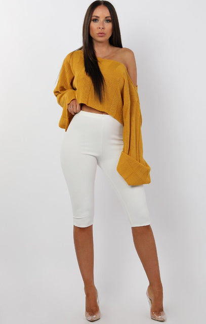 Mustard Jumbo Ribbed Oversized Crop Jumper - Raven
