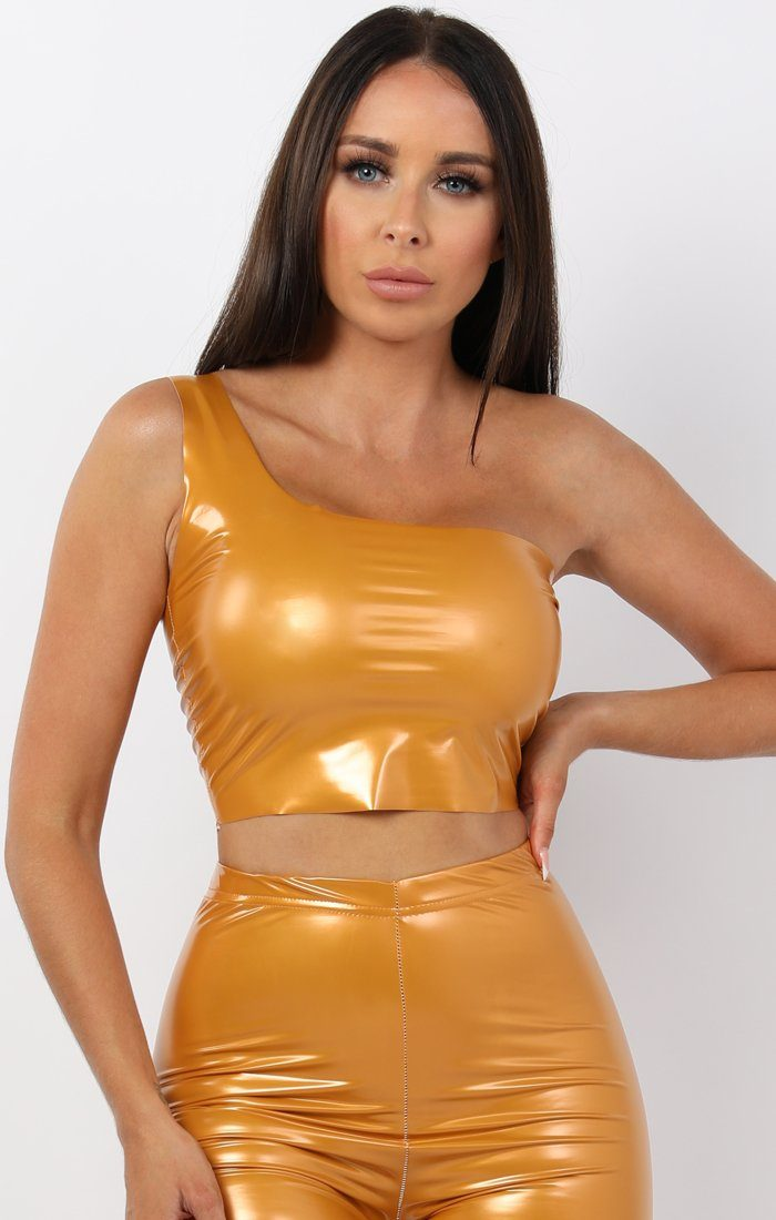 Mustard Pu One Shoulder Crop Top - Keeley