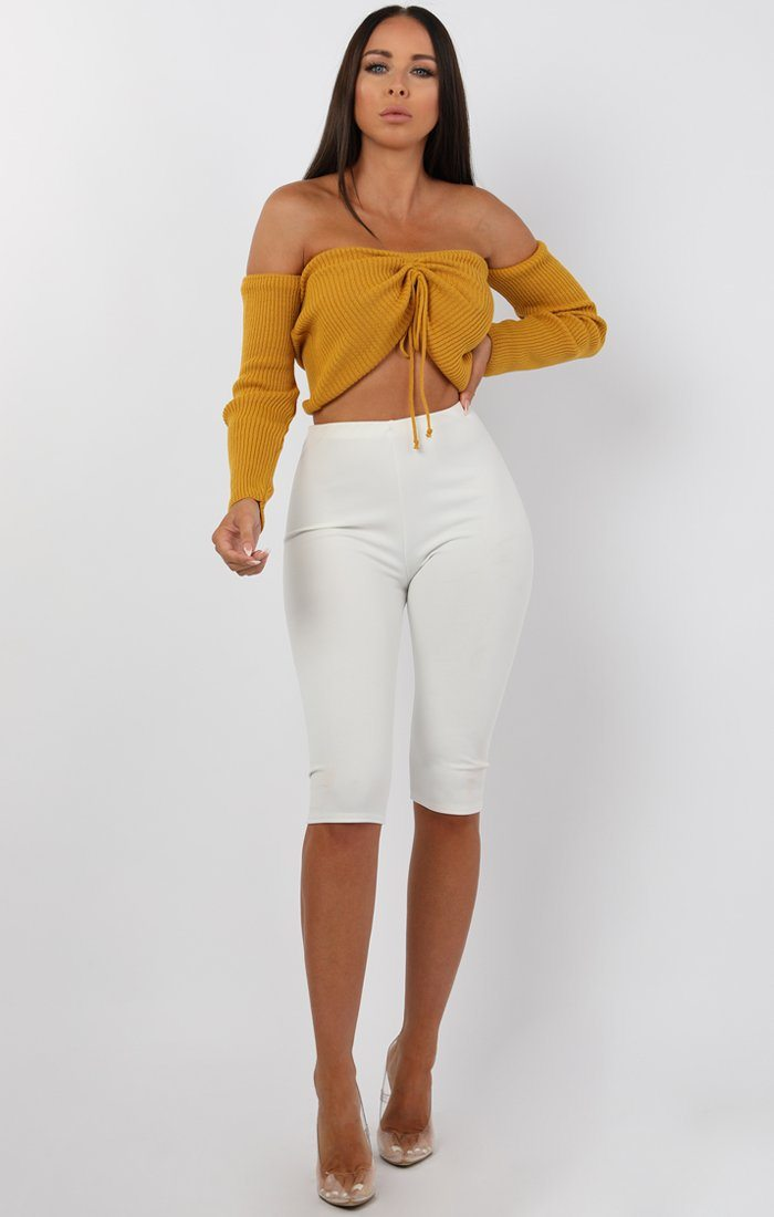 Mustard Ribbed Bardot Ruched Front Crop Top - Lea
