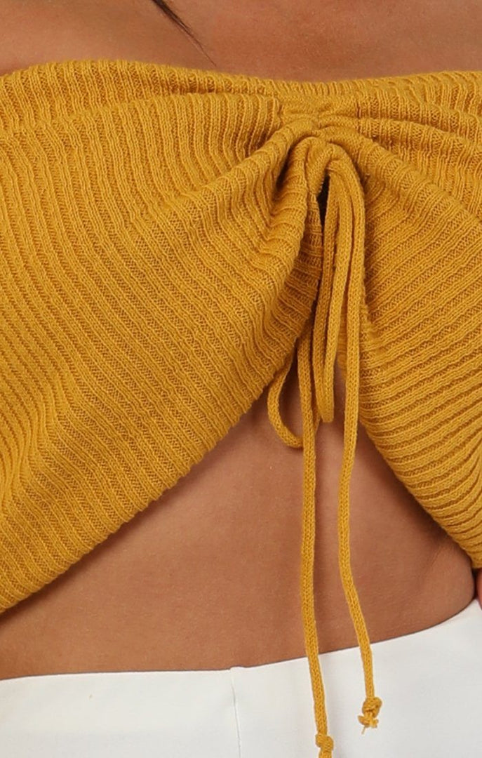 Mustard-Ribbed-Bardot-Ruched-Front-Crop-Top-Lea