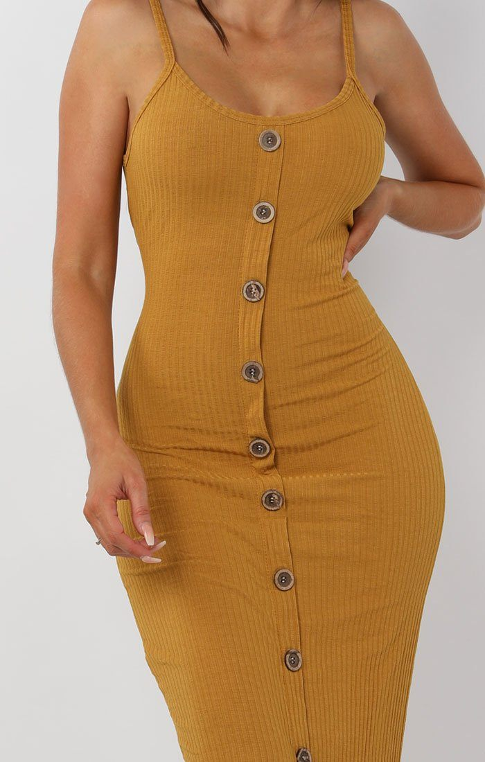 Mustard Ribbed Knit Button Detail Maxi Dress - Kaitlyn