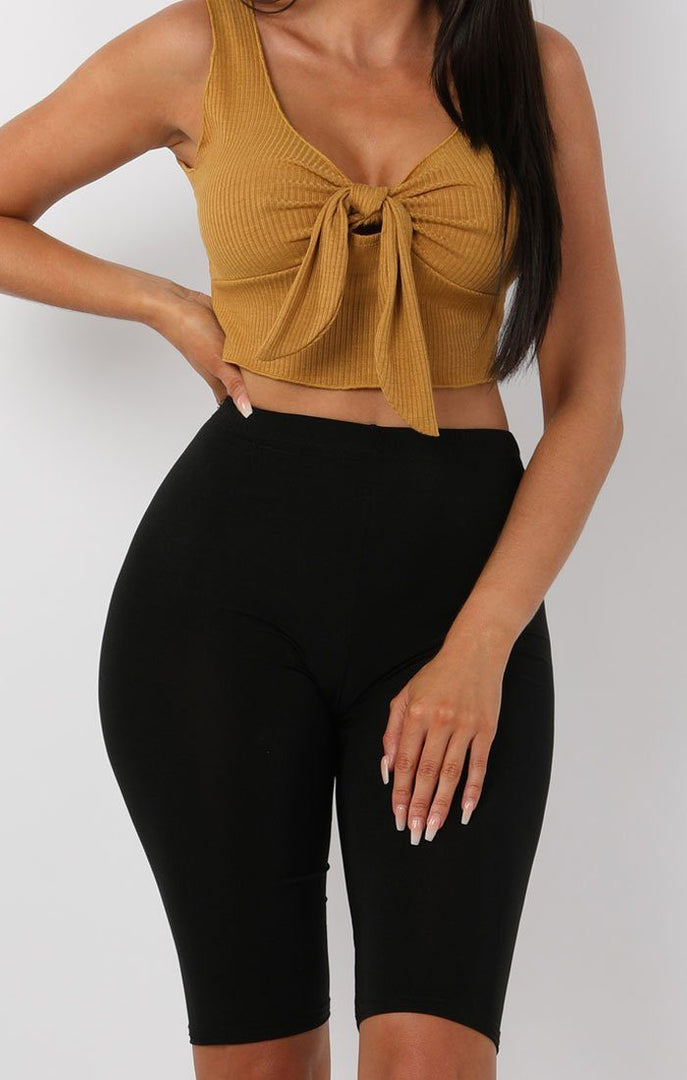 Mustard Ribbed Tie Front Crop Top - Maeve