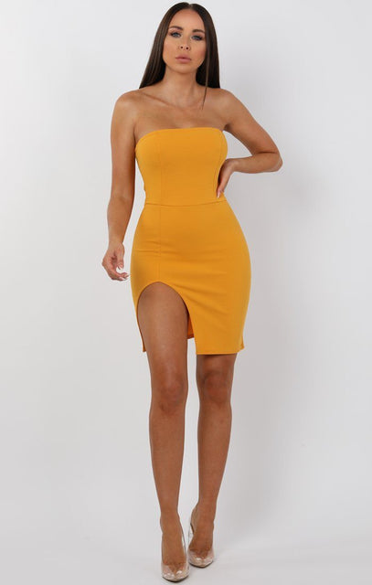 Mustard Split Leg Bandeau Mini Dress - Ailie