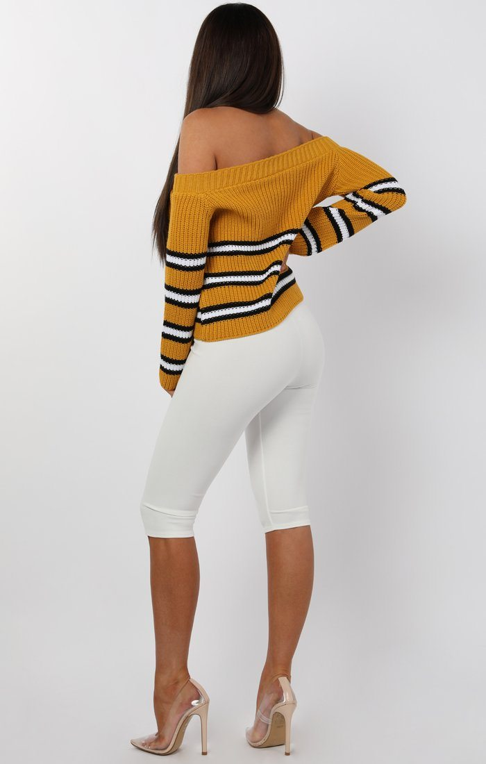 Mustard Striped Bardot Knitted Jumper - Sheena