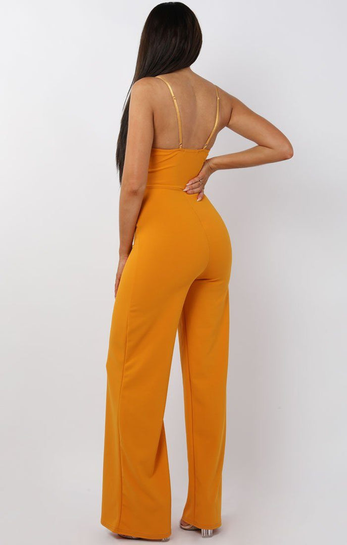 Mustard Tie Front cut Out Jumpsuit - Moira