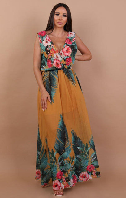 Mustard Tropical Print Maxi Dress - Poppy