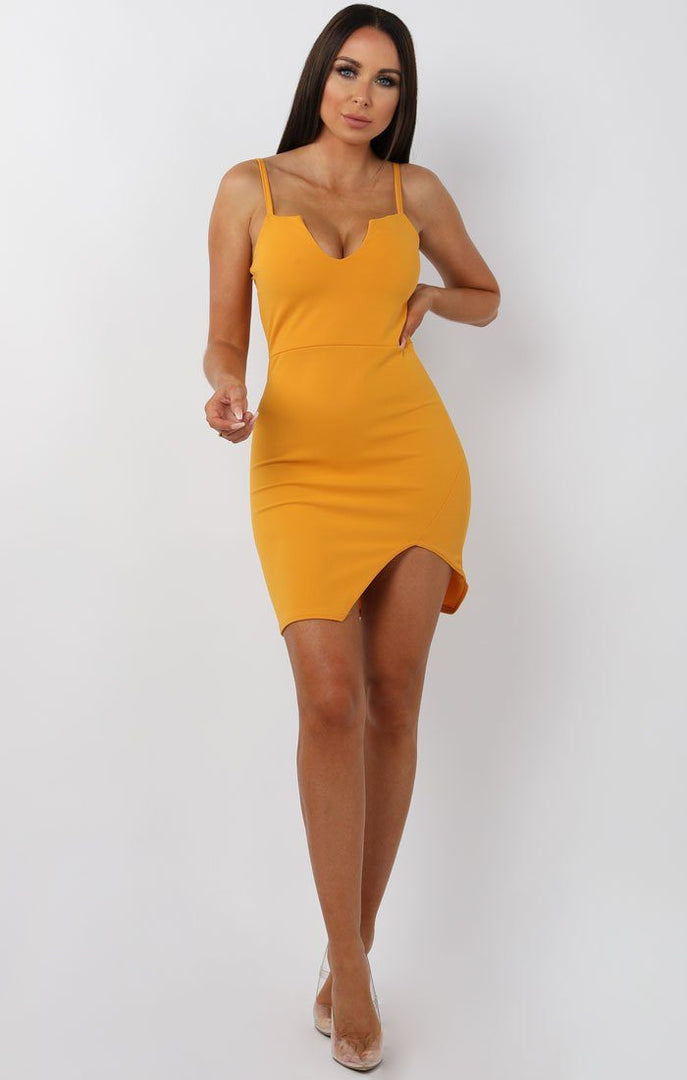 Mustard V Bar Bodycon Mini Dress – Aspen