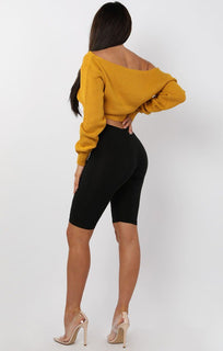 Mustard V-Neck Cropped Jumper - Cordelia