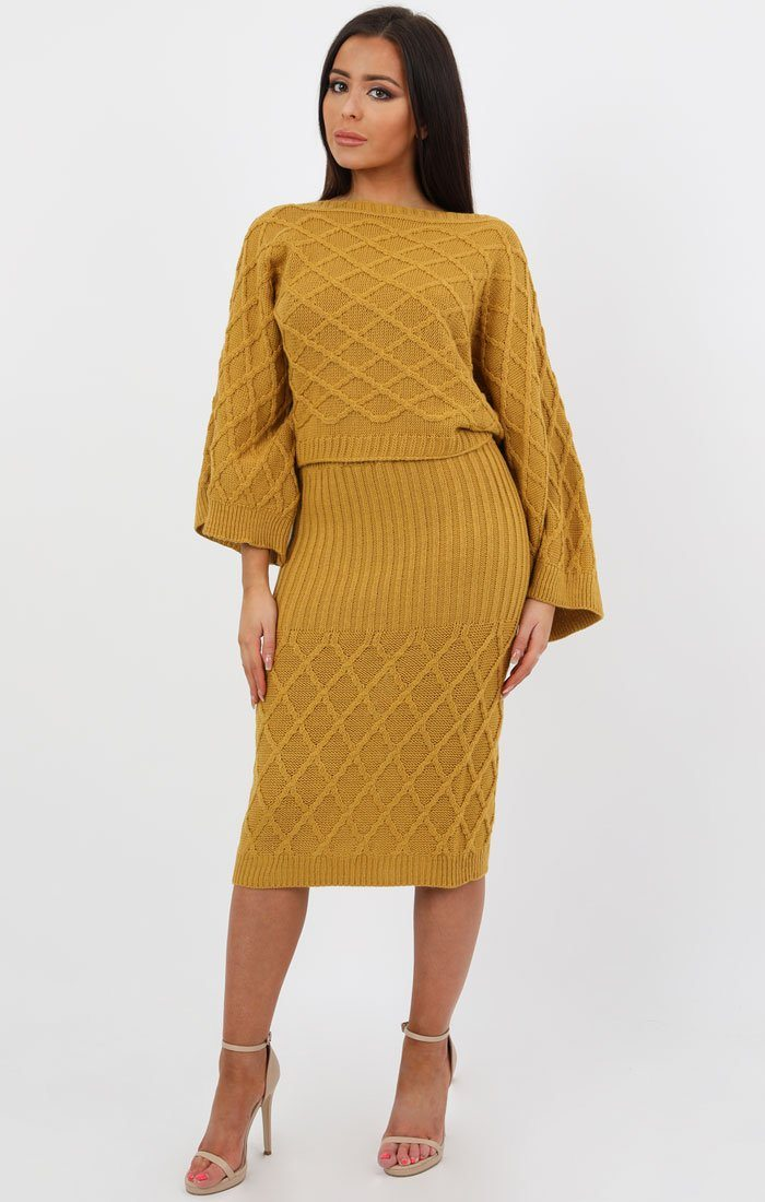 Mustard Cable Knit Oversized Midi Loungewear Set - Ruby loungewear FemmeLuxe