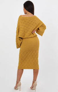 Mustard Cable Knit Oversized Midi Loungewear Set - Ruby