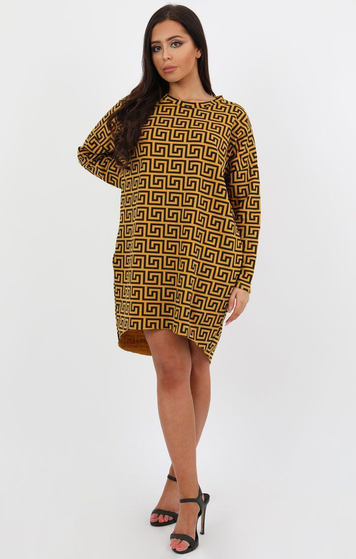 0ac3e723eb Mustard Geometric Print Oversized Jumper Dress - Lucy