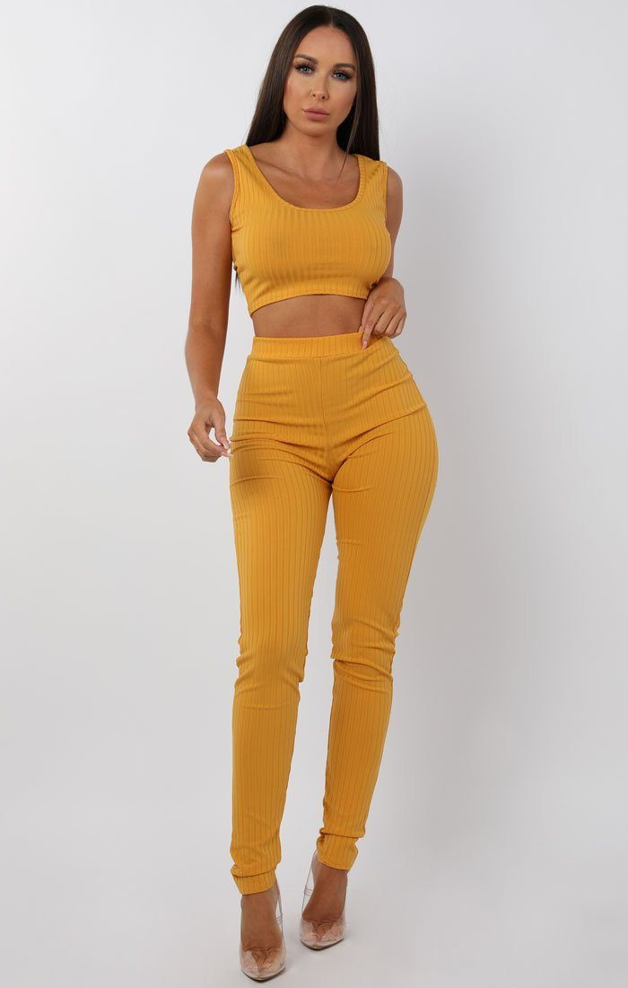 Mustard Ribbed Two Piece Co-ord Set - Amaria