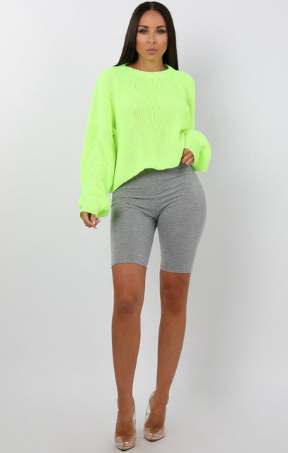 Neon Lime Oversized Crop Jumper - Shaunie