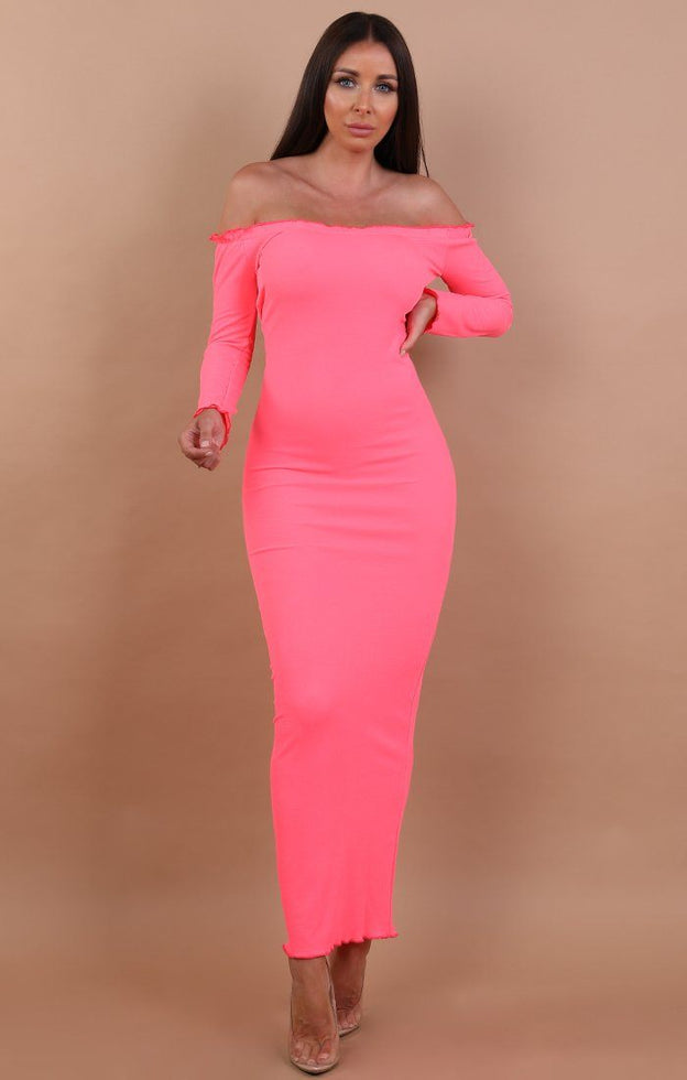 Neon-Pink-Frill-Detail-Maxi-Dress-Jaycee