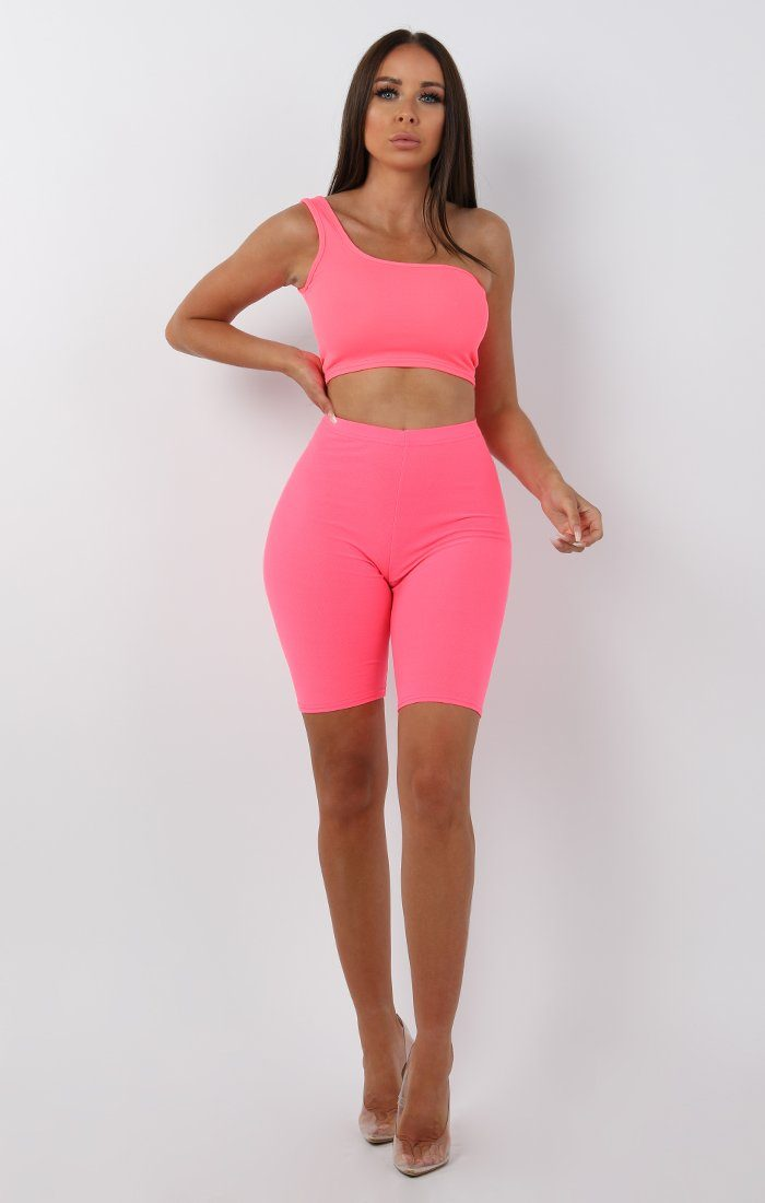 Neon Pink One Shoulder Crop Top - Keeley