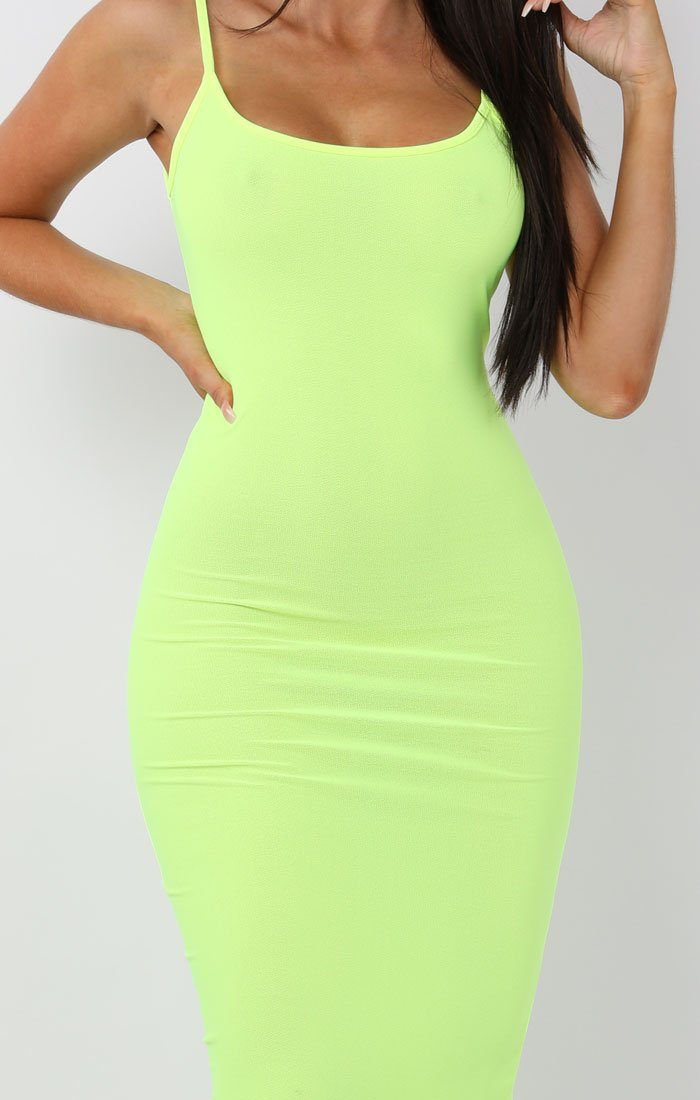 Neon Yellow Cami Strap Maxi Dress - Serenna
