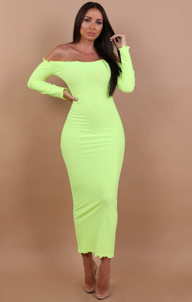 Neon-Yellow-Frill-Detail-Maxi-Dress-Jaycee