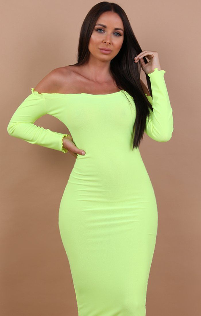 Neon Yellow Frill Detail Maxi Dress - Jaycee
