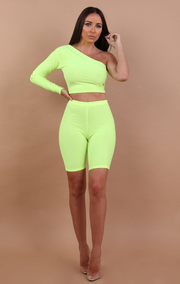 Neon Yellow One Shoulder Crop Top - Lola
