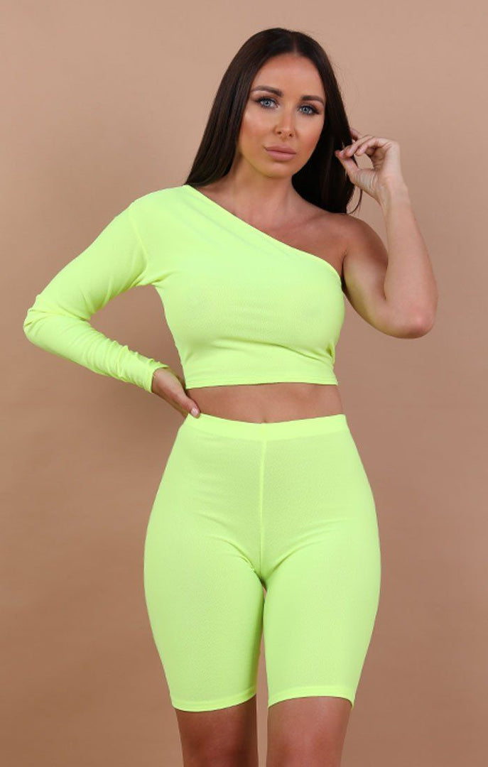 Neon -Yellow-One-Shoulder-Crop-Top-Lola