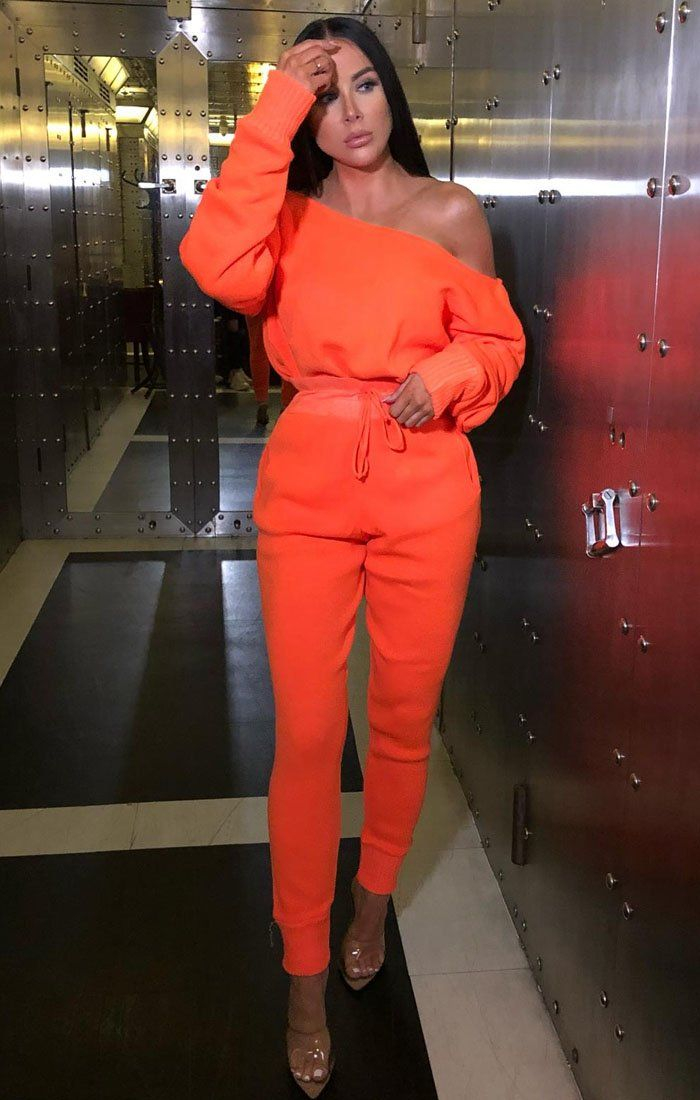 Neon Orange Fine Knit Off The Shoulder Loungewear - Zoe