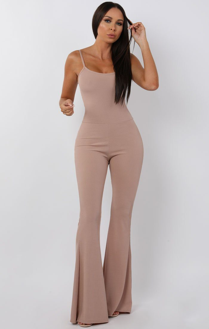 Nude Cami Ribbed Flare Jumpsuit - Gloria jumpsuits FemmeLuxe