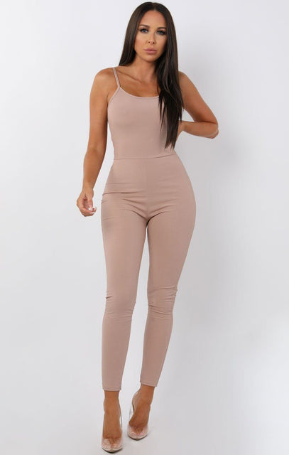 Nude Cami Ribbed Jumpsuit - Lolly
