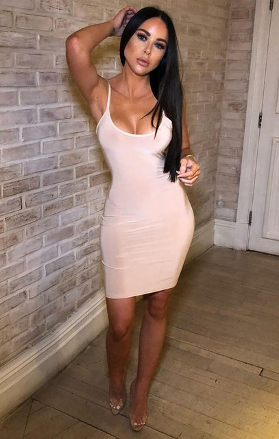 Nude Criss Cross Back Slinky Mini Dress - Evie