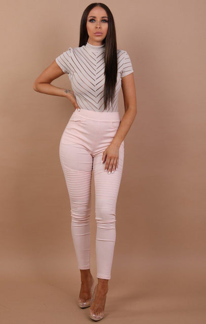 Nude Ribbed Skinny Jeans - Leia