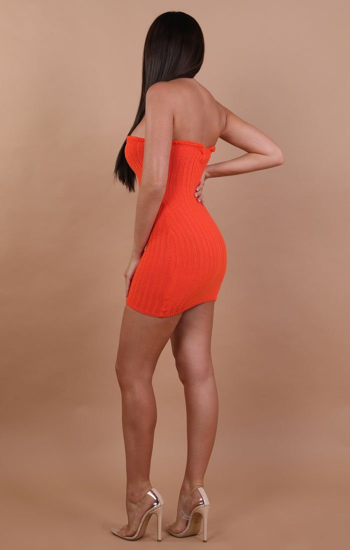 Orange Bandeau Mini Dress - Ella