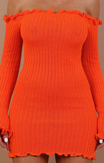 Orange Bardot Knitted Mini Dress - Carmen
