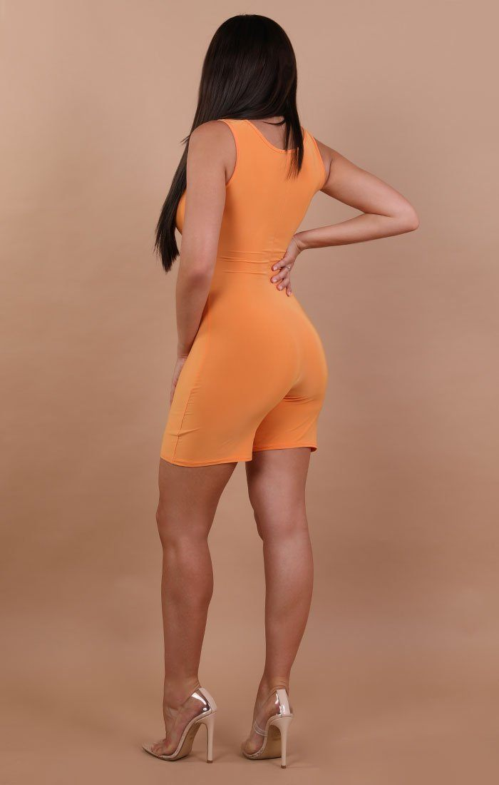 Orange Basic Sleeveless Playsuit - Faith