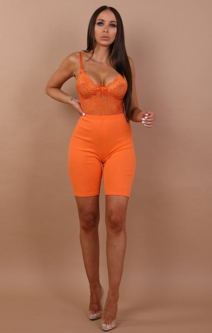 Orange Cropped Basic Leggings - Roxanne