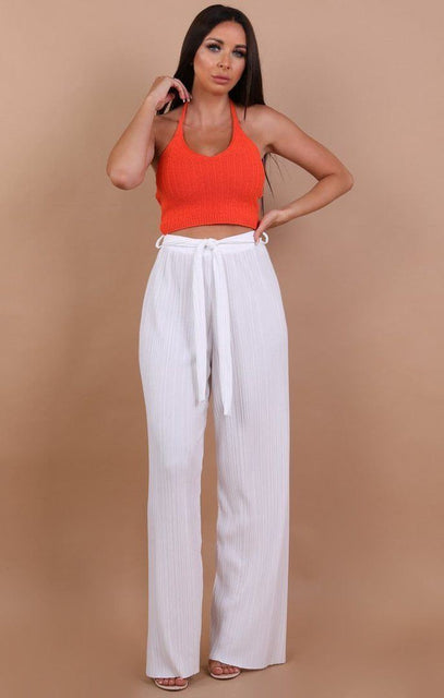 WHITE CRINKLE BELTED TROUSERS