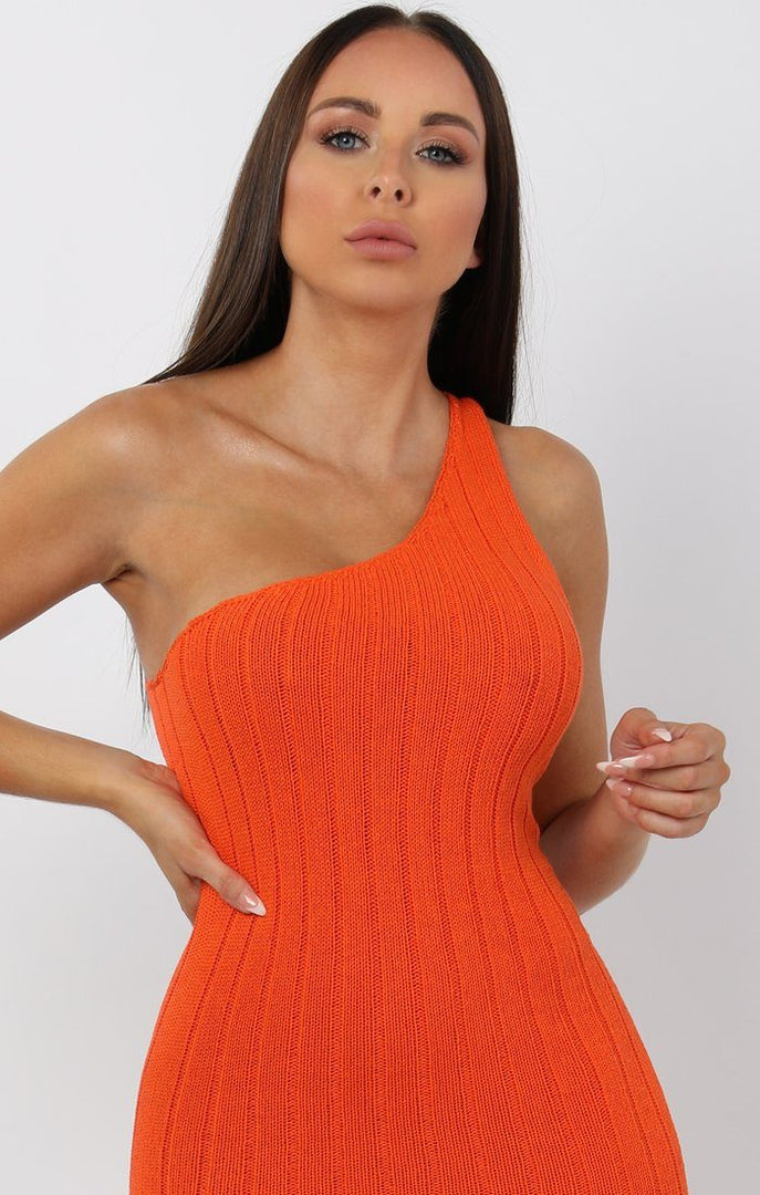 Orange-Knitted-One-Shoulder-Midi-Dress-Sorcha