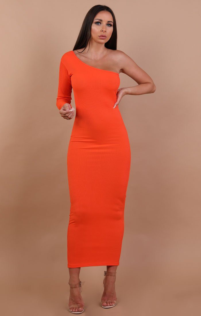 Orange-One-Shoulder-Maxi Dress-Opal