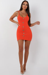 Orange Ribbed Knit Button Detail Mini Dress - Kerry sale FemmeLuxe