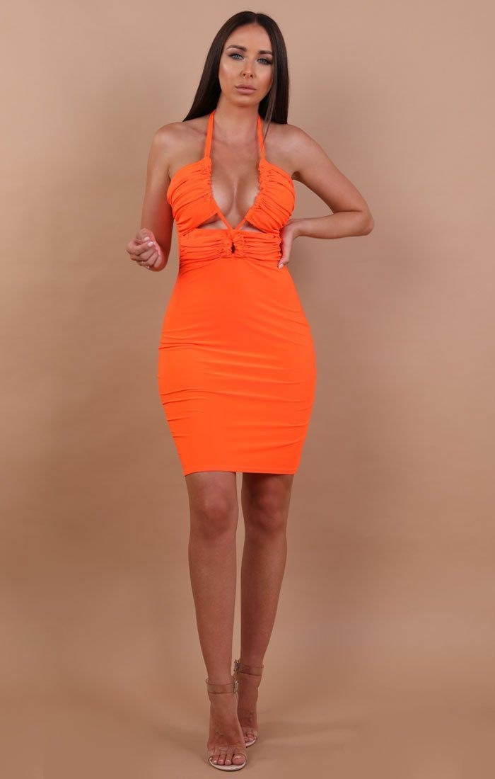 Orange Slinky Ruched Halterneck Mini Dress - Jennie